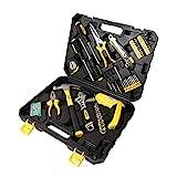 WMC TOOLS Werkzeugkoffer gefüllt 110 teilig Werkzeug Set bestückt mit Bit Satz, Schraubendreher, Bohrmaschine Werkzeugkasten Werkzeuge für Haushalt und Profi