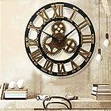 Wanduhr aus Metall, groß, leise, nicht tickend, batteriebetrieben, Vintage, römische Ziffern, rund, moderne Uhr für Wohnzimmer-Dek