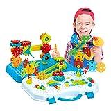 Mosaik Steckspiel 3D Puzzle Kinder Bausteine mit Drillen,Kreatives DIY Spielzeug Spielwerkzeug für Kinder Mädchen Jungen 311 PCS, 12 in 1 BAU Gebäude Spielzeug Bohrmaschinen Sets