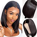 Small Lace Bob Black Wigs Straight Short Wigs Brazilian Wig for Women Handmade Middle Part