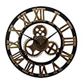 YVX Industrial Gear Wanduhr Dekorative Wanduhr Industrial Clock Wanduhr (Silber Lieferung ohne Batterie) (Farbe: Gold, Blattgröße: 40 x 40 x 5 cm)
