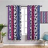 LTHCELE Blickdicht Vorhang für Schlafzimmer - Blau süß Tier Katze - 3D Druckmuster Öse Thermisch isoliert - 220 x 215 cm - 90% Blickdicht Vorhang für Kinder Jungen Mädchen Sp