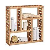 Relaxdays Wandregal Walnuss mit 5 Fächern, für Badezimmer, Flur und Wohnzimmer, Stauraum, HxBxT: 50 x 50 x 15 cm,