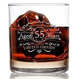 Whiskey-Scotch-Glas für 55. Geburtstag, 1966 Vintage Edition, 325 ml, altmodische Whiskey-Gläser für 55 Jahre, klassisches Lowball-Rocks-Glas