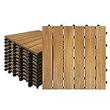 Froadp 11 Stück Akazien-Holz Fliesen Wasserfilterbar Terrassen- & Balkonfliesen Zusammenbaubar Holzfliesen Garten Klickfliese Gesamt ca. 1m²(30x30cm, Type A)