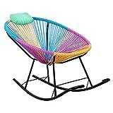 H-ei Rattan Lazy Sofa Stuhl Kissen Modern Minimalist Fashion Schlafzimmer Wohnzimmer Balkon Komfortable Schmiedeeisen Hocker Regenbogen Farbe