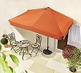 habeig Sonnenschirm halbrund rechteckig Wandschirm für Balkone oder Terrassen Polyester Aluminium, ca. 270 cm breit (Terrakotta #71)