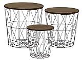 Metall Beistelltisch mit Stauraum schwarz - 3er Set/dunkle Tischplatten - Wohnzimmer Tisch mit Abnehmbarer Holz Platte Metallkorb Sofatisch Couchtisch