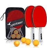 Sportneer Tischtennisschlaeger Set, Tischtennis Set- 2 Premium Pingpong schläger und 4 Tischtennisbälle Aufbewahrungstasche - Ideal für Profi- & Freizeitspiele, Anfänger, Familien (2 Pack)