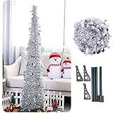 Künstlicher Lametta Pop-Up-Weihnachtsbaum mit Ständer, wunderschöner Faltbarer künstlicher Weihnachtsbaum Größe 1 Farbe Silber