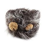 YKSO Hübsches Haustierkostüm, Löwenmähne, Perücke für Katzen, Halloween, Weihnachten, Party, Verkleiden mit Ohren, Haustierbekleidung, Katzenkostü