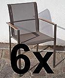 ASS 6Stk Designer Gartenstuhl mit Armlehne Kuba-BRAUN Gastroqualität Stapelsessel Gartensessel Stapelstuhl Sessel Edelstahl Batyline Textilene Teak stapelbar sehr rob