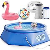 INTEX 28132 Easy Set Swimming Pool 366 x 76 cm Schwimmbecken Komplett-Set mit Filterpumpe und Extra-Zubehör wie: Strandball