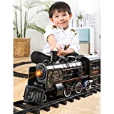 LICHENGTAI Zugspielzeug, Eisenbahn Kinder elektrisch, Modelleisenbahn starterset, elektrische Eisenbahn mit realistischen Zuggeräuschen und Rauchschwarz, Geschenke fü