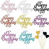 BOYATONG 54 Stücke Cake Topper,Kuchen Deko,Glitzer Cupcake Topper,Happy Birthday Kuchendekoration Cake Toppers,Glitter torten Topper Geburtstag,Cupcake Topper für Motto Party Torte Dek