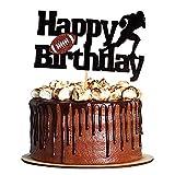 Svnaokr Fußball Kuchen Topper Rugby Ball Alles Gute zum Geburtstag Zeichen Kuchen Obst Muffin Picks für Super Bowl Party Dekor Touchdown Sport Themed Game Day Party Liefert