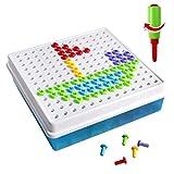 Brigamo 2401 - ⚒ Mosaik Bastelset Steckspiel zum Schrauben Konstruktionsspielzeug Baukasten Set mit Kinderwerkzeug ⚒