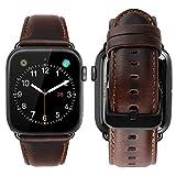 MroTech Lederarmband Ersatz für iWatch Armband 42mm 44mm Watch Band echt Leder Uhrenarmband mit schwarzer Adapter iWatch Ersatzband für iWatch Series 4 Series 3 Series 2 Series1(42 mm/44 mm Kaffee)