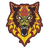 Wikingerwolf von Odin, großer bestickter Rückenaufnäher für Motorradjacke & Bikerweste (Fire Wolf)