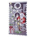 prom-near Weihnachten Vorhänge Tür Scheibengardine Weihnachtsmann Gardine Spitze Vorhang Weihnachtsgardine für Küche Badezimmer Tür, Ohne Lichterkette, 213×102cm