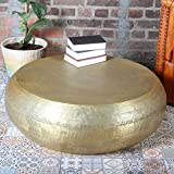 Casa Moro Orientalischer XXL Couchtisch Safaga Gold Ø 98cm mit Hammerschlag | Shisha Lounge Tisch rund aus Aluminium gehämmert | EIN Sofatisch für einfach schöner Wohnen | TSV8020