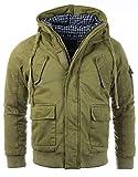 Gefütterte Herren Winterjacke der Marke Young & Rich Jacke Parka Bomberjacke Vintage, Grösse:L, Farbe:Militär-Grün