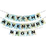 WERNNSAI Party-Zubehör Dekorationen Bon Voyage Weltkarte Wimpel Let The Adventure Begin Ammer Banner Girlande zum Geburtstag Baby Shower Abschluss Pensionierung Abenteuer-Mottoparty (Abenteuer Banner)