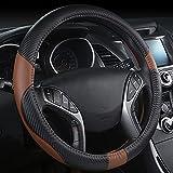 Universal Auto Lenkradhülle, Auto Lenkradhüllen aus Microfiber Leder 15 Zoll/37-38cm Heavy Duty Anti Rutsch Lenkradabdeckung Atmungsaktiv Lenkradschutz Lenkradschoner (Braun)