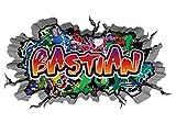 3D Wandtattoo Graffiti Wand Aufkleber Name BASTIAN Wanddurchbruch sticker Boy selbstklebend Wandsticker Jungenddeko Kinderzimmer 11MB231, Wandbild Größe F:ca. 97cmx57cm