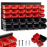 AREBOS Stapelboxen Wandregal / 32tlg Lagersystem/Rot-Schwarz / 12 große Stapelboxen, 18 mittlere Stapelboxen/Inklusive Befestigungsmaterial/Herausnehmbar & Stapelb
