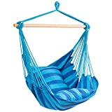 RELAX4LIFE Hängesessel, Hängesitz mit 2 abnehmbaren Kissen, Hängestuhl mit dickem Seil, Hängeschaukel für Kinder & Erwachsene, für Balkon & Wohnzimmer, bis zu 160 kg belastbar, waschbar (Hellblau)