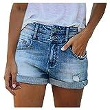 Zarupeng Damen Denim Kurze Hosen Basic Jeans Bermudas Shorts mit Destroyed Effekten Damen Bermuda Sommer Hot Pants Nachtclub fest Niedrigtaille lässige Jeansshorts Pants Trousers Streetwear Freizeit