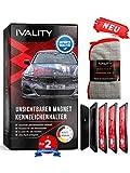 Ivality® Kennzeichenhalter Rahmenlos - Hochwertiger Magnet Kennzeichenhalter/Nummernschildhalterung Auto/ Wechselkennzeichenhalter Österreich /DE/CH (für 2X ALU-Kennzeichen)