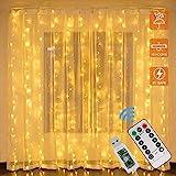 Wythe LED Lichtervorhang,LEDs 3M USB Lichterkettenvorhang mit 8 Modi Fernbedien IP65 Wasserfest LED Lichterkette für Schlafzimmer Hochzeit Party Weihnachten Innen und außen (warmweiß, 100 LED)