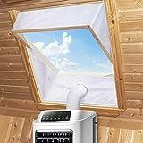 Fensterabdichtung für Mobile Klimageräte Dachfenster, Klimaanlage Fensterabdichtung Hot Air Stop zum Anbringen an Schwingfenster für Max 380cm Fensterumfang, Fensterkitt Set 2x190cm, Weiße