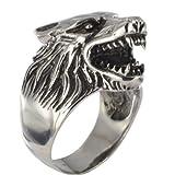1 Schwerer 3D Edelstahl Ring Wolf Wolfskopf Biker Kelten Mittelalter Gothic 10152 Gr58