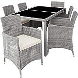 TecTake 800325 - Poly Rattan Sitzgruppe, 6 Stühle mit Sitzkissen, 1 Tisch mit 2 Glasplatten, inkl. Schutzhülle - Diverse Farben - (Hellgrau | Nr. 403704)