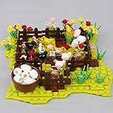 DOSGO Bauernhöfe Bausteine, DIY Pflanze Küken Zaun Landschaft Bausteine Teile mit Bauplatten Kompatibel mit Lego