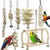 Vogelspielzeug für Vögel, Papageien, Schaukel, Kauspielzeug aus Naturholz, zum Aufhängen, für kleine Sittiche, Nymphensittiche, Sittiche Finken 7 Packungen