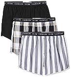 Calvin Klein Herren Slim Fit Boxer 3pk Boxershorts, Schwarz (Level Stripe/Black/Field Plaid Les), Small