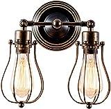 Retro Wandleuchte Einstellbare Industriebeleuchtung Rustikale Drahtmetallkäfiglampen Indoor Home Wandlampen Vintage Light Fixture,Bronze