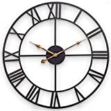 BLKJ Wanduhr Groß Vintage, Metall Grosse Wanduhren, XXL, Ohne TickgeräUsche, 60 cm - Retro Uhren, röMische Ziffern, Dekor Wanduhr für Loft, Schlafzimmer, Wohnzimmer, Küche 60cm schwarz