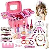 balnore Kinderschminke Set Mädchen 34 Stück Waschbar Makeup Set mit Schminkkoffer Mädchen Schminkset Kinder Kosmetik Spielzeug Geschenk ab 3 Jahren