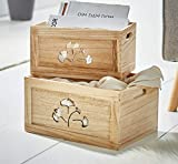 """Dekoleidenschaft Holzbox """"Gingko"""" im 2er Set, Deko Box, Vorrat, Aufbewahrung in Küche, Bad, Geschenk"""