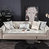 KENEL Chaiselongue Sofabezug, L-förmige Sofabezug Rückenlehne Handtuch Geometrische Jacquard-Eis-Seidensofa-Sitzsommerkissen-80 * 180 cm_Braun-Verkauft in stück