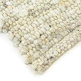 Hand-Web-Teppich | Reine Schur-Wolle im Skandinavischen Design | Wohnzimmer Esszimmer Schlafzimmer Flur Läufer | Grau Beige (Oslo Natur - 120 x 170 cm)