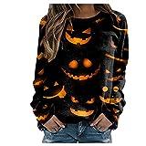 XUNN Damen Tops Halloween Mode Print Shirt Rundh-Alsausschnitt Langarm Sweatshirt Lose Pullover Top Frauen Bluse