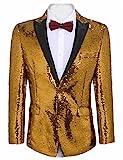 COOFANDY Herren Shiny Pailletten Anzug Jacke Smoking Jacke für Partei, Hochzeit, Bankett, Prom,Nachtklub, Gold-gelb, 3XL