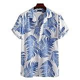 Meilily Tropischer Regenwald-Druck Herren Hemd Strandhemd Hawaiihemd Kurzarm Urlaub Hemd Freizeit Reise Hemd Party Hemd Funky Casual Kragen