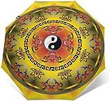 Yin Yang Tai Chi Symbol Automatik Dreifach Faltbarer Regenschirm Sonnenschirm Sonnenschutz Außen Druck